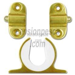 soporte caña techo/pared aluminio anodizado tigress dorado clips